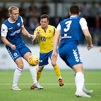Montrose v St Johnstone….16.07.19      Links Park     Betfred Cup       <br />Danny Swanson finds his route forward blocked by Paul Watson and Andrew Steeves<br />Picture by Graeme Hart. <br />Copyright Perthshire Picture Agency<br />Tel: 01738 623350  Mobile: 07990 594431