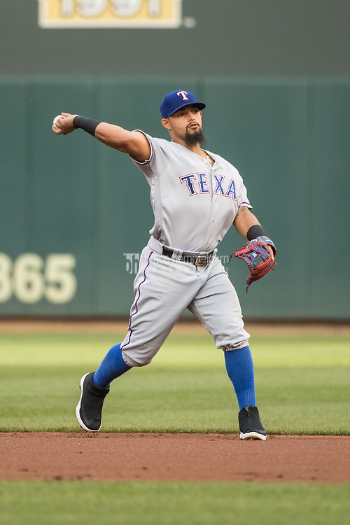 MINNEAPOLIS, MN- JULY 01: Rougned Odor #12 of the Texas Rangers throws against the Minnesota Twins on July 1, 2016 at Target Field in Minneapolis, Minnesota. The Rangers defeated the Twins 3-2. (Photo by Brace Hemmelgarn) *** Local Caption *** Rougned Odor