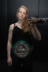 Classically trained bassoonist and Scotland's first female professional boxer to hold a world title Hannah Rankin, 27, beat Finland's previously undefeated Sanna Turumen last weekend to claim the vacant World Boxing Council (WBC) Silver Middleweight title. . London, June 21 2018.