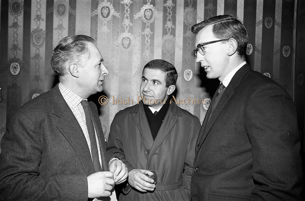 08/02/1966<br /> 02/08/1966<br /> 08 February 1966<br /> Modern Teaching Ltd. announce new language laboratory at a reception in the Cumberland Hotel, Dublin. At the announcement of details of the new laboratory and teaching aids centre at 23 Westland Row, Dublin were Mr. J. Desmond MacAvock, managing director of Modern Teaching Ltd.; Mr Martin Peukert, German Teacher at the Laboratory and Mr Sean Devitt, French Teacher at the Laboratory.
