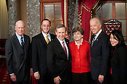 Nov 29, 2010 - Washington, District of Columbia, U.S. - Vice President BIDEN poses with Sen.-Elect MARK KIRK, (R-IL) (CENTER)and his family on Monday, following a re-enactment of his swearing-in at the Old Senate Chamber in the U.S. Capitol..(Credit Image: © Pete Marovich/ZUMA Press)