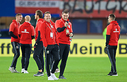 VIENNA, AUSTRIA - Thursday, October 6, 2016: Wales' Chris Gunter and Sam Vokes inspect the pitch ahead of the 2018 FIFA World Cup Qualifying Group D match at the Ernst-Happel-Stadion. (Pic by David Rawcliffe/Propaganda)
