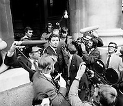 John Hume MP and Austin Curry MP (side to camera) are surrounded by the media as they arrive at Government Buildings as part of a Northern Ireland delegation to Taoiseach Jack Lynch.<br />