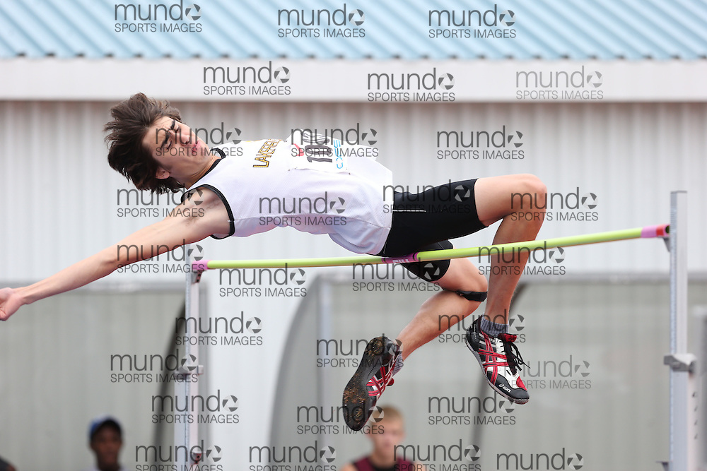 Jake Andrus of Lakefield DSS - Lakefield competes in the senior boys high jump at the 2013 OFSAA Track and Field Championship in Oshawa Ontario, Thursday,  June 6, 2013.<br /> Mundo Sport Images / Sean Burges