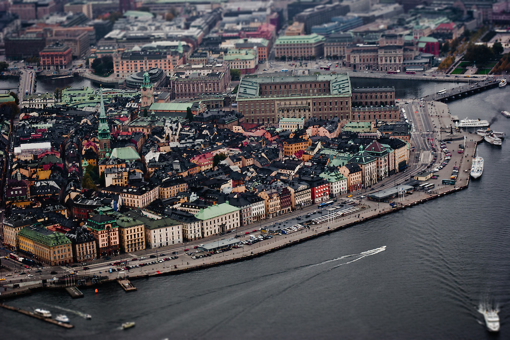 The views of Gamla Stan (Old Town) and Lake Malaren from a helicopter ride, Riddarfjärden, Stockholm.