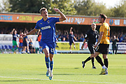 AFC Wimbledon attacker Marcus Forss (15) celebrating after scoring goal to make it 1-0 during the EFL Sky Bet League 1 match between AFC Wimbledon and Bristol Rovers at the Cherry Red Records Stadium, Kingston, England on 21 September 2019.