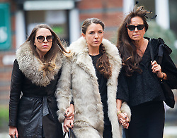 © London News Pictures. 05/11/2014. L to R Daughters KYLA  and NATASCHA (aka RUBA RED) and wife MAGRIT SEYFFER arriving at the service. The funeral Jack Bruce at Golders Green Crematorium in North London. Jack Bruce was the lead singer and bass player for British Rock band Creme, alongside Eric Clapton and Ginger Baker. Creme sold over 15 million albums worldwide and were widely considered to be the worlds first successful supergroup. Photo credit : Ben Cawthra/LNP