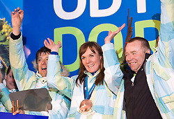 Slovenian bronze medalist cross-country skier Petra Majdic and Stefan Lichon at reception at her home town Dol pri Ljubljani after she came from Vancouver after Winter Olympic games 2010, on March 1, 2010 in Dol pri Ljubljani, Slovenia. (Photo by Vid Ponikvar / Sportida)