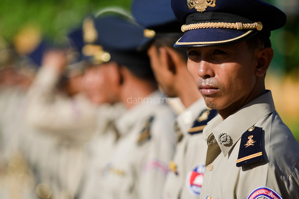 Guards prepare for the arrival of Prime Minister Hun Sen at Royal Palace, Phnom Penh, Cambodia