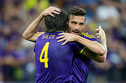 Marko Suler #4 of Maribor and Aleksander Rajcevic #26 of Maribor celebrate after Suler scored first goal for Maribor during First Leg football match between NK Maribor and FC Astana in Second qualifying round of UEFA Champions League, on July 14, 2015 in Stadium Ljudski vrt, Maribor, Slovenia. Photo by Vid Ponikvar / Sportida