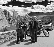Congregation of smoking bikers, Garden of the Gods, Colorado Springs, Colorado