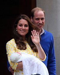 Catherine, Duchess of Cambridge and Prince William, Duke of Cambridge depart the Lindo Wing with their newborn daughter Charlotte Elizabeth Diana at the St Mary's Hospital in London, UK. 02/05/2015<br />