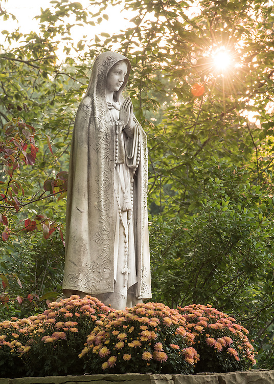 Saint Mary's College, Our Lady of Fatima Statue. (Photo by Matt Cashore)