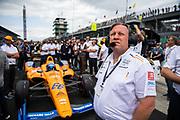 May 16-19, 2019: IndyCar qualifying for the 103rd Indianapolis 500. Zak Brown, executive chairman of Mclaren Honda F1 team, 66 Fernando Alonso, McLaren Racing, Chevrolet, McLaren Racing