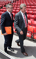 LIVERPOOL, ENGLAND - Thursday, July 1, 2010: Liverpool Football Club's new manager Roy Hodgson with press officer Paul Tyrell during a photo-call at Anfield. (Pic by David Rawcliffe/Propaganda)