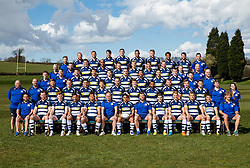 Bristol Rugby 2015/16 Squad<br /> <br /> Row 1 (L-R): Matthew Sherratt (Back's Coach), Nick Koster, Jack Tovey, Gavin Henson, Jack Lam, Andy Robinson (Director of Rugby), David Lemi, Sean Holley (First Team Coach), Will Cliff, Mitch Eadie, Olly Robinson, Matthew Morgan, Mark Bakewell (Forward's Coach).<br /> <br /> Row 2 (L-R): Chalky Meek (Kit Man), Mark Bennett (Head of Performance), Chris Brooker, Nick Carpenter, Gaston Cortes, Martin Roberts, Adrian Jarvis, Max Crumpton, Jamal Ford-Robinson, James Hall, Andy Uren, Callum Sheedy, Tom Hargroves (S&C Coach), Heather Bradley (Physio Intern).<br /> <br /> Row 3 (L-R): Dwayne Peel, Eoin Power (Physio), Marc Jones, Tommaso Benvenuti, Auguy Slowik, Gareth Maule, Anthony Perenise, Ben Mosses, Jack O'Connell, Rory Murray (Head of Medical Services), John Harrison (Team Manager).<br /> <br /> Row 4 (L-R): Sarah Gorvett (Rugby Administrator), Stuart Powell (Senior Analyst), James Phillips, Tom Varndell, Kyle Traynor, Charlie Amesbury, Jack Wallace, Ryan Edwards, Jemma Garnder (Sports Therapist), Kris James (Analyst).<br /> <br /> Row 5 (L-R): David Howes (Physio), Ross McMillan, Rayn Smid, Glen Townson, Ian Evans, Ben Glynn, Joe Joyce, Marco Mama, Luke Arscott, Ben Cousins (Head of GPS).<br /> <br />  - Mandatory byline: Rogan Thomson/JMP - 05/04/2016 - RUGBY UNION - Clifton Rugby Club - Bristol, England - Bristol Rugby Team Photo.