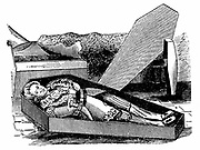 Daniel Boone (1735-1820) American pioneer and Indian fighter. Woodcut purporting to show him trying out his coffin for size.