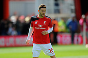 Liverpool midfielder Adam Lallana before the Barclays Premier League match between Bournemouth and Liverpool at the Goldsands Stadium, Bournemouth, England on 17 April 2016. Photo by Graham Hunt.