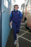Max Sanders of Wimbledon arriving at the ground during the EFL Sky Bet League 1 match between Tranmere Rovers and AFC Wimbledon at Prenton Park, Birkenhead, England on 21 December 2019.