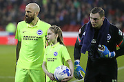 Brighton defender, Bruno Saltor (2) and Brighton goalkeeper, David Stockdale (13)  during the Sky Bet Championship match between Nottingham Forest and Brighton and Hove Albion at the City Ground, Nottingham, England on 11 April 2016. Photo by Simon Davies.