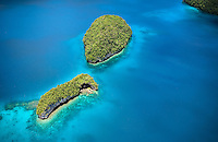 The amazing colors of the rock islands in the surreal archipelago of Palau can only be seen, and appreciated from the sky.  Protected for nearly 50 years this small group of kaleidoscopic motus hosts a wide range of sea life, including the endangered dugong, or sea cow.