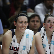 Breanna Stewart, UConn, cheering on team mates from the bench with team mate Katie Lou Samuelson, (right), during the UConn Vs SMU Women's College Basketball game at Gampel Pavilion, Storrs, Conn. 24th February 2016. Photo Tim Clayton