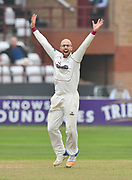 Jack Leach of Somerset appeals a wicket during the Specsavers County Champ Div 1 match between Somerset County Cricket Club and Middlesex County Cricket Club at the Cooper Associates County Ground, Taunton, United Kingdom on 26 September 2017. Photo by Graham Hunt.