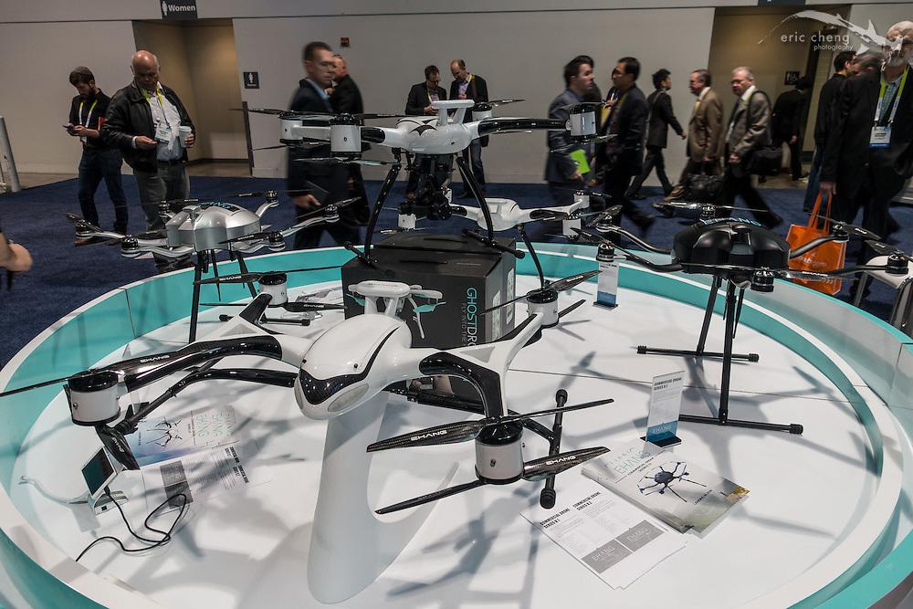 Aggressive-looking EHANG drones. CES 2016, Las Vegas.