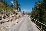 Road works on Route 27 near Brail (Zernez) region in the Swiss canton of Graubünden. in the Inn Valley