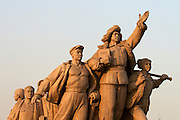 Tian'anmen Square (Place of Heavenly Peace). Mao Zedong Mausoleum. Workers at heroes.