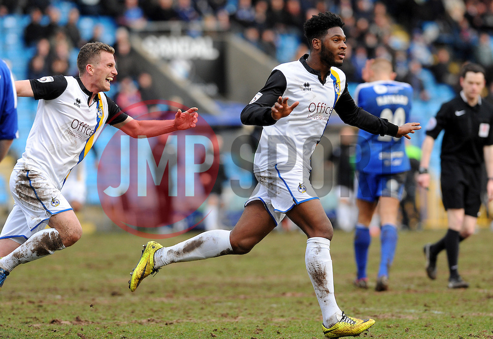 Bristol Rovers' Ellis Harrison is joined by Bristol Rovers' Lee Mansell to celebrate making 2-2 - Photo mandatory by-line: Neil Brookman/JMP - Mobile: 07966 386802 - 14/03/2015 - SPORT - Football - Halifax - The Shay - Halifax Town v Bristol Rovers - Vanarama Football Conference