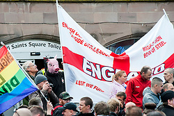 EDL members and supporters in All Saints Square near Rotherham Minster during Saturdays  EDL rally in South Yorkshire  in Rotherham Town Centre <br /> <br /> May 10 2014<br /> Image © Paul David Drabble <br /> www.pauldaviddrabble.co.uk