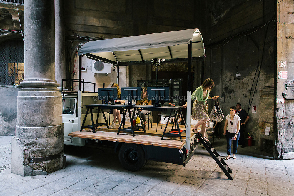 PALERMO, ITALY - 16 JUNE 2018: &quot;Videomobile&quot; (2018), a multichannel video installation with sound by Masbedo, is seen here at Palazzo Costantino during Manifesta 12, the European nomadic art biennal, in Palermo, Italy, on June 16th 2018.<br /> <br /> Manifesta is the European Nomadic Biennial, held in a different host city every two years. It is a major international art event, attracting visitors from all over the world. Manifesta was founded in Amsterdam in the early 1990s as a European biennial of contemporary art striving to enhance artistic and cultural exchanges after the end of Cold War. In the next decade, Manifesta will focus on evolving from an art exhibition into an interdisciplinary platform for social change, introducing holistic urban research and legacy-oriented programming as the core of its model.<br /> Manifesta is still run by its original founder, Dutch historian Hedwig Fijen, and managed by a permanent team of international specialists.<br /> <br /> The City of Palermo was important for Manifesta&rsquo;s selection board for its representation of two important themes that identify contemporary Europe: migration and climate change and how these issues impact our cities.