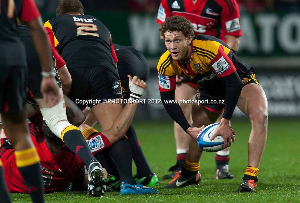 Chiefs' Tawera Kerr-Barlow passes during the Super Rugby Semi Final won by the Chiefs (20-17) against the Crusaders at Waikato Stadium, Hamilton, New Zealand, Friday 27 July 2012. Photo: Stephen Barker/Photosport.co.nz