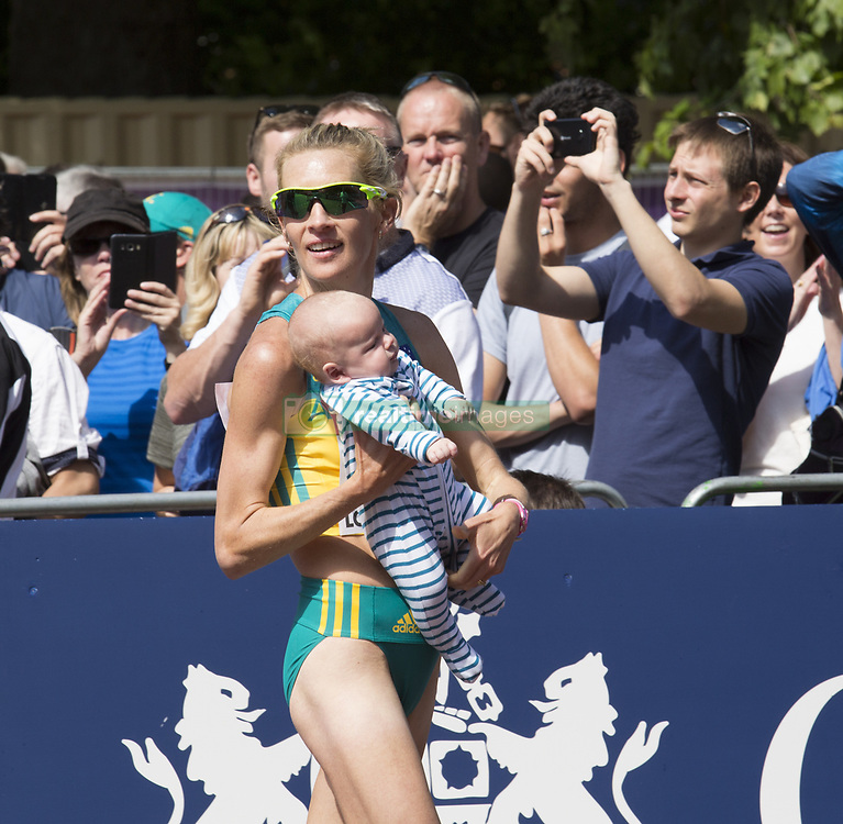 August 13, 2017 - London, United Kingdom - Claire Tallent with her 12 weeks baby after finishing Women 20 K Race Walk at IAAF World Championships in London, UK on August 13, 2017. The race took place on The Mall, most picturesque street of London and attracted thousands spectators. (Credit Image: © Dominika Zarzycka/NurPhoto via ZUMA Press)