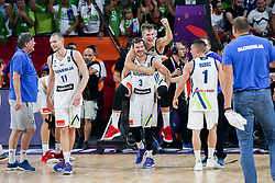 Goran Dragic of Slovenia, Luka Doncic of Slovenia celebrating after winning during the Final basketball match between National Teams  Slovenia and Serbia at Day 18 of the FIBA EuroBasket 2017 at Sinan Erdem Dome in Istanbul, Turkey on September 17, 2017. Photo by Vid Ponikvar / Sportida