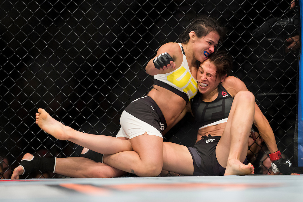 LAS VEGAS, NV - JULY 8:  Claudia Gadelha and Joanna Jedrzejczyk grapple during The Ultimate Fighter Finale at MGM Grand Garden Arena on July 8, 2016 in Las Vegas, Nevada. (Photo by Cooper Neill/Zuffa LLC/Zuffa LLC via Getty Images) *** Local Caption *** Claudia Gadelha; Joanna Jedrzejczyk