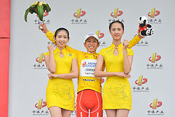 September 20, 2017 - Changde City, China - Kevin Rivera Serrano from Androni-Sidermec-Bottecchia team keeps the Yellow Leader Jersey after the second stage of the 2017 Tour of China 2, the 97.6km Changde Lixiang Circuit Race. .On Wednesday, 20 September 2017, in Lixian County, Changde City, Hunan Province, China. (Credit Image: © Artur Widak/NurPhoto via ZUMA Press)