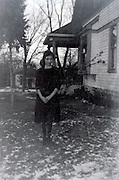 girl posing by house 1920s USA Missouri
