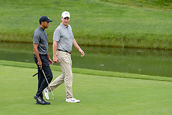 May 29, 2019 - Dublin, OH, U.S. - DUBLIN, OH - MAY 29: Tiger Woods (left) and Former NFL quarterback Peyton Manning (right) walk to the fourth putting green during the Pro-Am of the Memorial Tournament presented by Nationwide at Muirfield Village Golf Club on May 30, 2018 in Dublin, Ohio. (Photo by Adam Lacy/Icon Sportswire) (Credit Image: © Adam Lacy/Icon SMI via ZUMA Press)