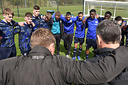 Leeds United players and staff during the U18 Professional Development League match between Coventry City and Leeds United at Alan Higgins Centre, Coventry, United Kingdom on 13 April 2019.