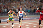 L-R Amu Fourie of South Africa, Jonnie Peacock of Great Britain and Richard Brown of the USA in the men's 100 meter t44 Final on day 8 of the London 2012 Paralympic Games.