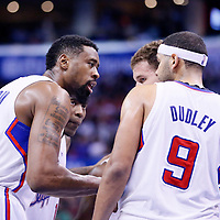 08 January 2014: Los Angeles Clippers center DeAndre Jordan (6) talks to Los Angeles Clippers shooting guard Jamal Crawford (11), Los Angeles Clippers small forward Jared Dudley (9), and Los Angeles Clippers power forward Blake Griffin (32) during the Los Angeles Clippers 111-105 victory over the Boston Celtics at the Staples Center, Los Angeles, California, USA.
