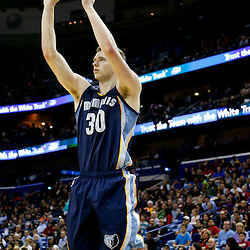 Dec 13, 2013; New Orleans, LA, USA; Memphis Grizzlies power forward Jon Leuer (30) shoots against the New Orleans Pelicans during the second half of a game at New Orleans Arena. The Pelicans defeated the Grizzlies 104-98. Mandatory Credit: Derick E. Hingle-USA TODAY Sports