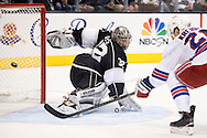 The Rangers' Chris Kreider scores on Kings' goaltender Jonathan Quick during the second period of Game 5 of the 2014 NHL Stanley Cup Final at Staples Center Friday.