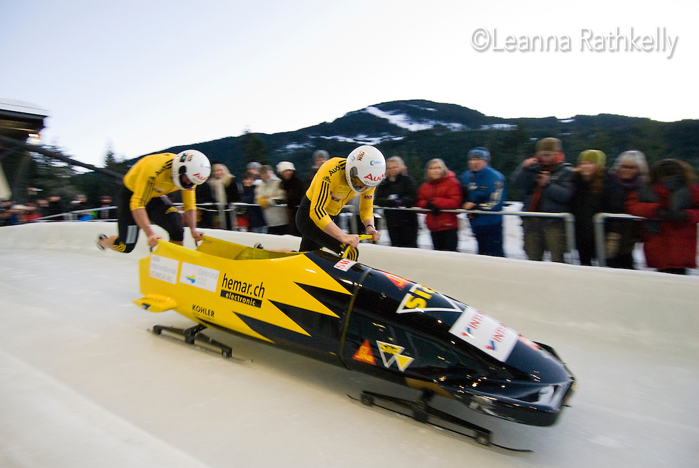 The Swiss team of Daniel Schmid and Thomas Kuettner compete in the Mens' two-person bobsleigh World Cup competition held at the Whistler Sliding Centre on Feb 6, 2009