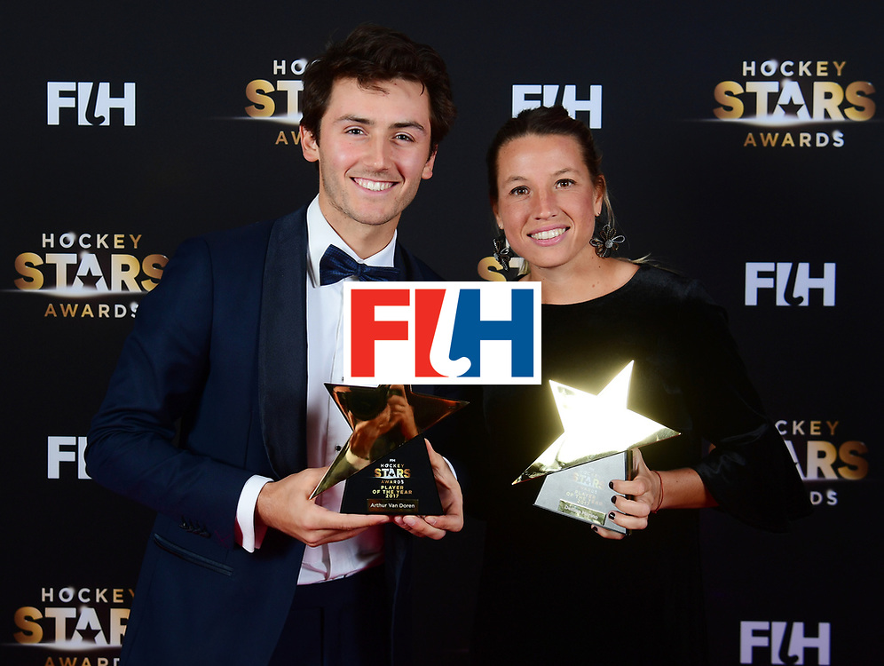 BERLIJN - FIH Hockey Stars Awards<br /> Foto: Male and Female Player of the Year<br /> Arthur van Doren and Delfina Merino<br /> WORLDSPORTPICS COPYRIGHT FRANK UIJLENBROEK