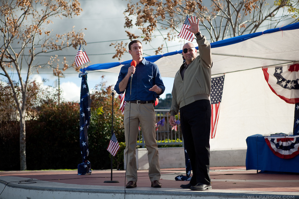 Congressman Duncan Hunter reintroduces candidate Nick Popaditch. Popaditch had spoken earlier at the event, a Tea Party rally in El Cajon's Renette Park, which drew several hundred people on Feb. 20, 2010. Speakers included congressional and gubernatorial candidates.