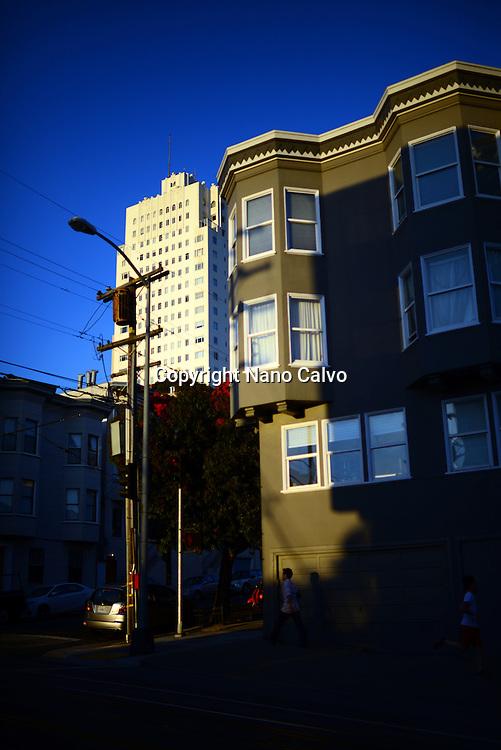 Streets of San Francisco at sunset.