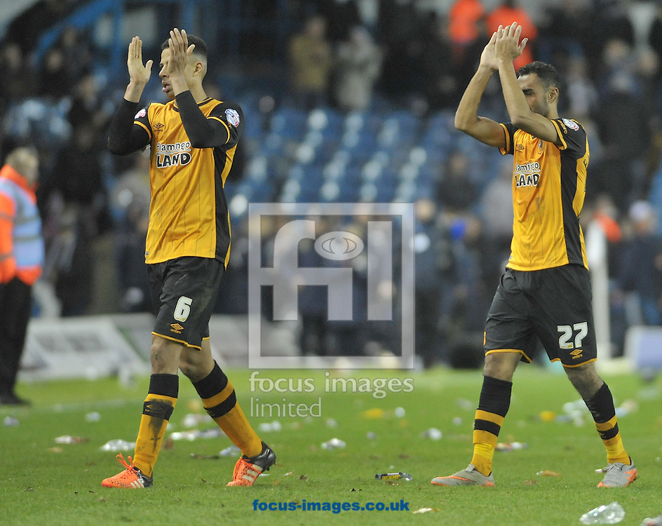 Curtis Davies &amp; goal scorer Ahmed Elmohamandy of Hull City thank the travelling supporters after the Sky Bet Championship match at Elland Road, Leeds<br /> Picture by Graham Crowther/Focus Images Ltd +44 7763 140036<br /> 05/12/2015